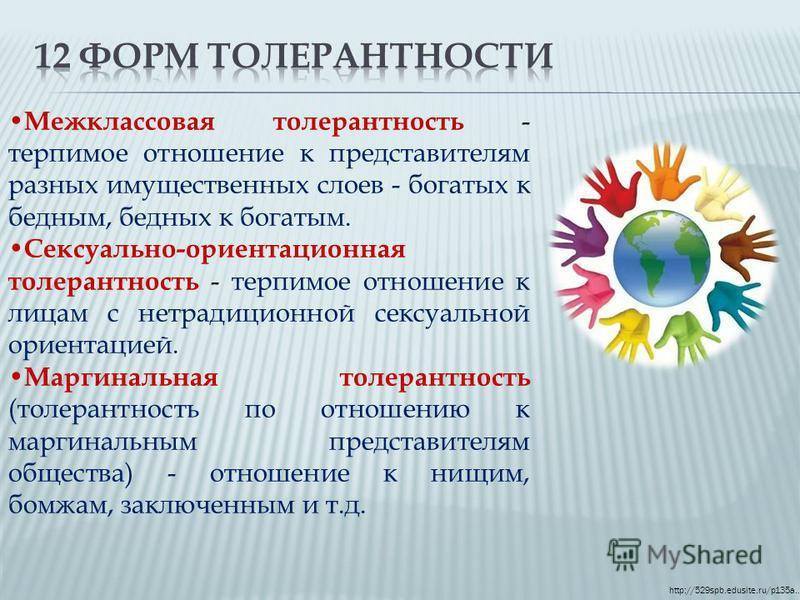 http://529spb.edusite.ru/p135a… Межклассовая толерантность - терпимое отношение к представителям разных имущественных слоев - богатых к бедным, бедных к богатым. Сексуально-ориентационная толерантность - терпимое отношение к лицам с нетрадиционной се