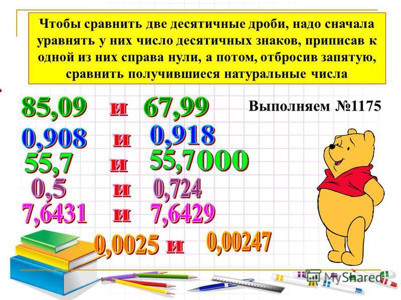Чтобы сравнить две десятичные дроби, надо сначала уравнять у них число десятичных знаков, приписав к одной из них справа нули, а потом, отбросив запятую, сравнить получившиеся натуральные числа Выполняем 1175