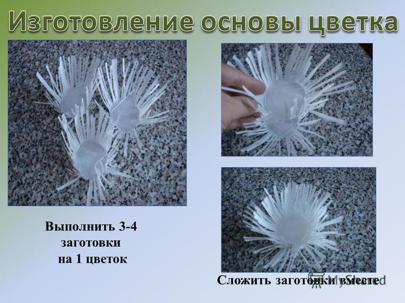 Выполнить 3-4 заготовки на 1 цветок Сложить заготовки вместе