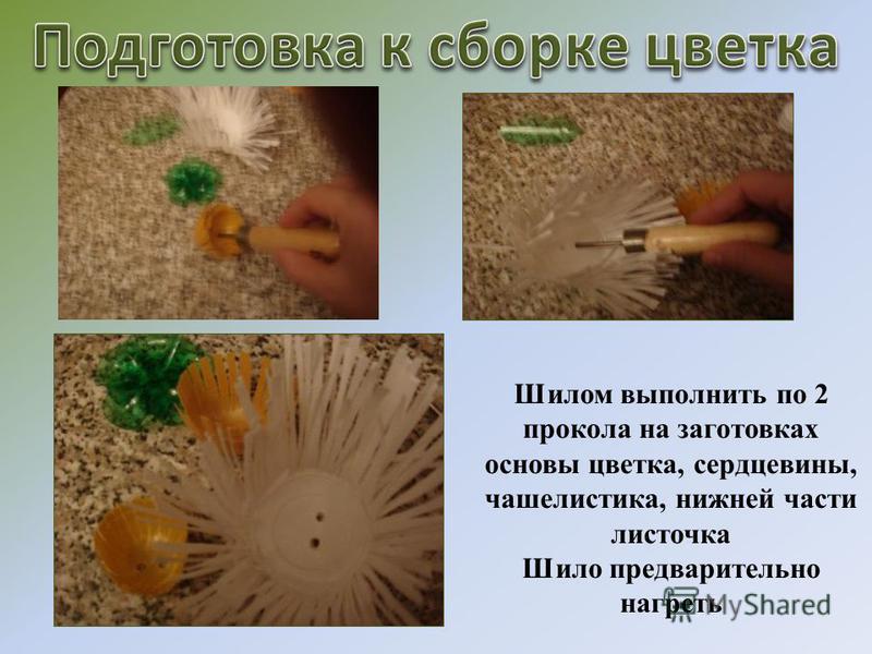 Шилом выполнить по 2 прокола на заготовках основы цветка, сердцевины, чашелистика, нижней части листочка Шило предварительно нагреть