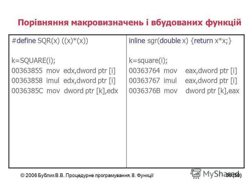 © 2006 Бублик В.В. Процедурне програмування. 8. Функції36 (50) Порівняння макровизначень і вбудованих функцій #define SQR(x) ((x)*(x)) k=SQUARE(i); 00363855 mov edx,dword ptr [i] 00363858 imul edx,dword ptr [i] 0036385C mov dword ptr [k],edx inline s