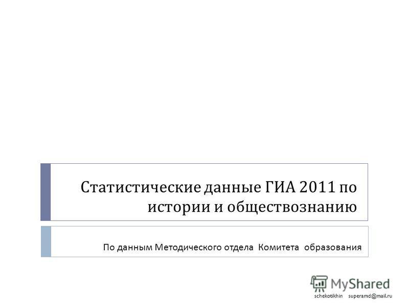 Статистические данные ГИА 2011 по истории и обществознанию По данным Методического отдела Комитета образования superamd@mail.ruschekotikhin