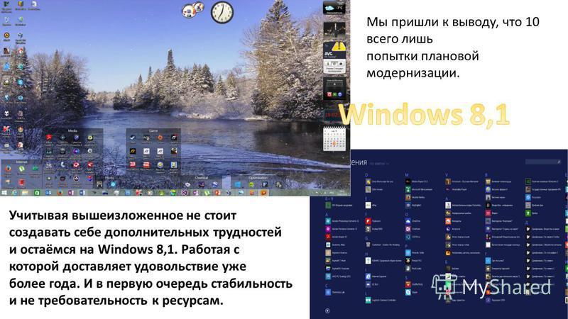 Учитывая вышеизложенное не стоит создавать себе дополнительных трудностей и остаёмся на Windows 8,1. Работая с которой доставляет удовольствие уже более года. И в первую очередь стабильность и не требовательность к ресурсам. Мы пришли к выводу, что 1