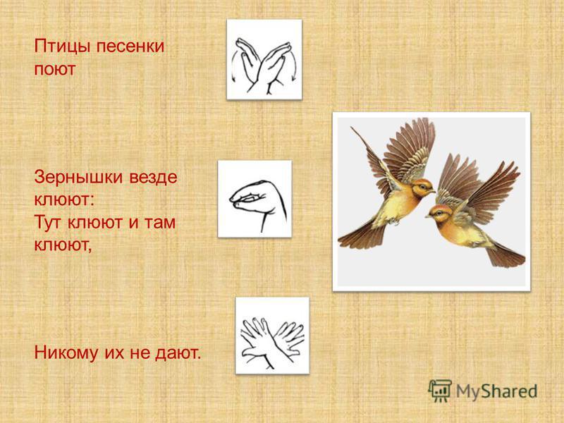 Птицы песенки поют Зернышки везде клюют: Тут клюют и там клюют, Никому их не дают.