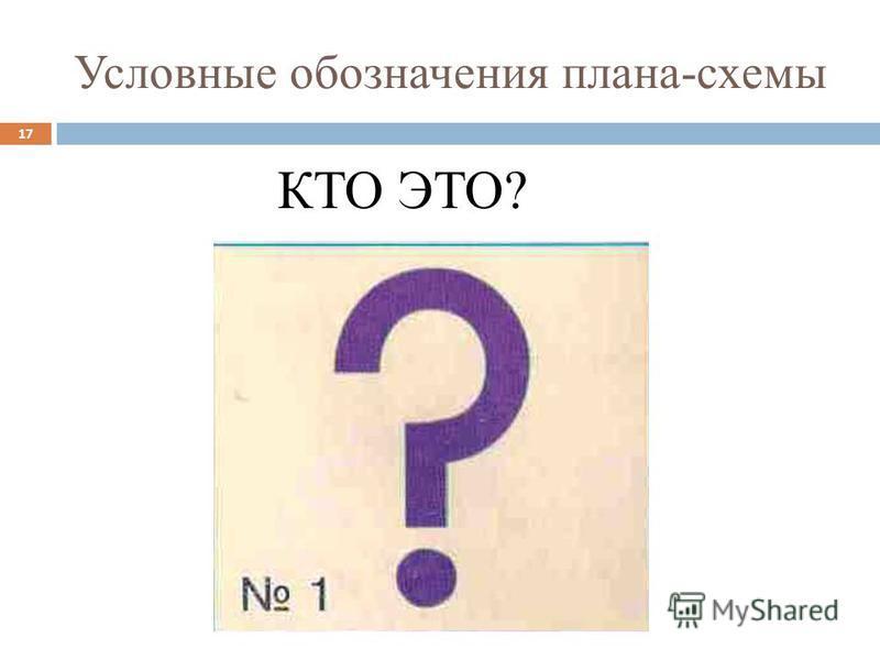 Условные обозначения плана-схемы КТО ЭТО? 17
