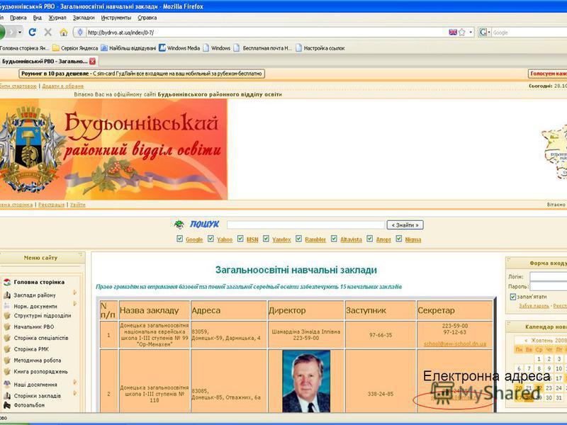 Шилова Ю.В., ЗНЗ 136 Електронна адреса