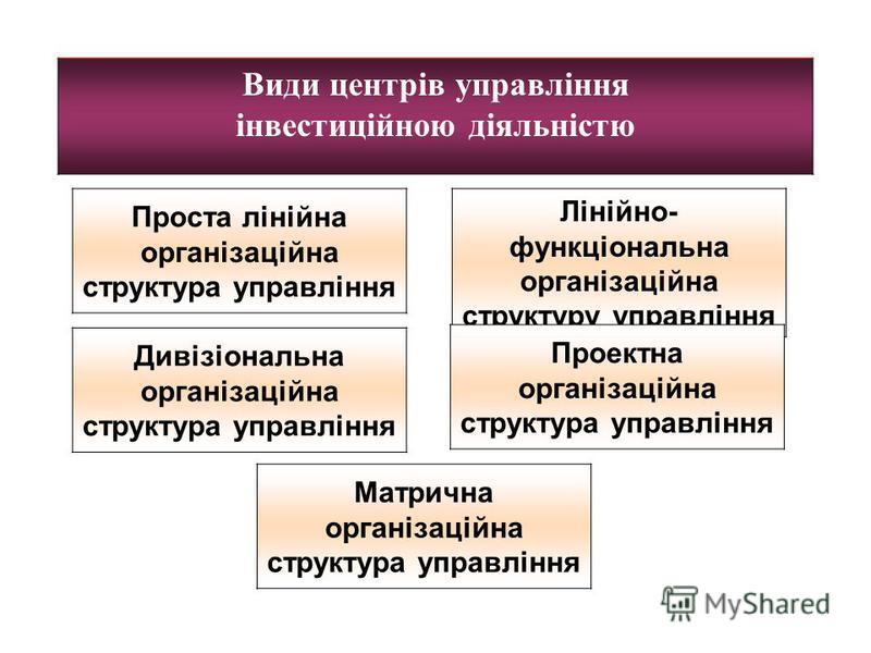 Види центрів управління інвестиційною діяльністю Проста лінійна організаційна структура управління Лінійно- функціональна організаційна структуру управління Дивізіональна організаційна структура управління Проектна організаційна структура управління