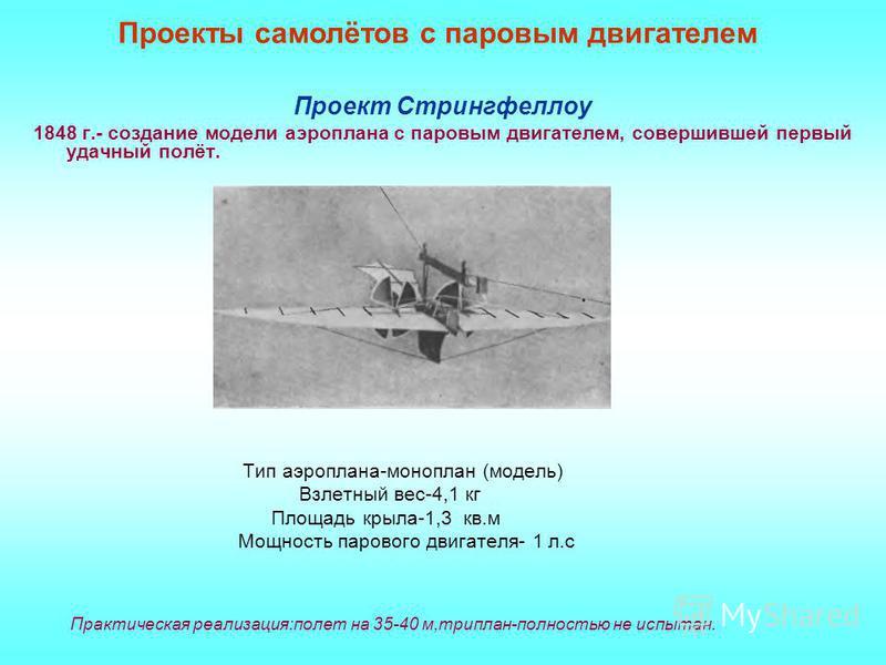 Проекты самолётов с паровым двигателем Проект Стрингфеллоу 1848 г.- создание модели аэроплана с паровым двигателем, совершившей первый удачный полёт. Тип аэроплана-моноплан (модель) Взлетный вес-4,1 кг Площадь крыла-1,3 кв.м Мощность парового двигате