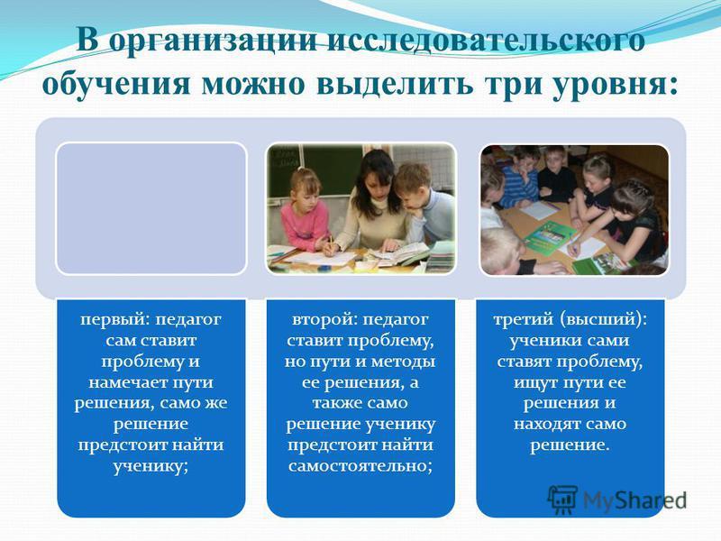 В организации исследовательского обучения можно выделить три уровня: первый: педагог сам ставит проблему и намечает пути решения, само же решение предстоит найти ученику; второй: педагог ставит проблему, но пути и методы ее решения, а также само реше