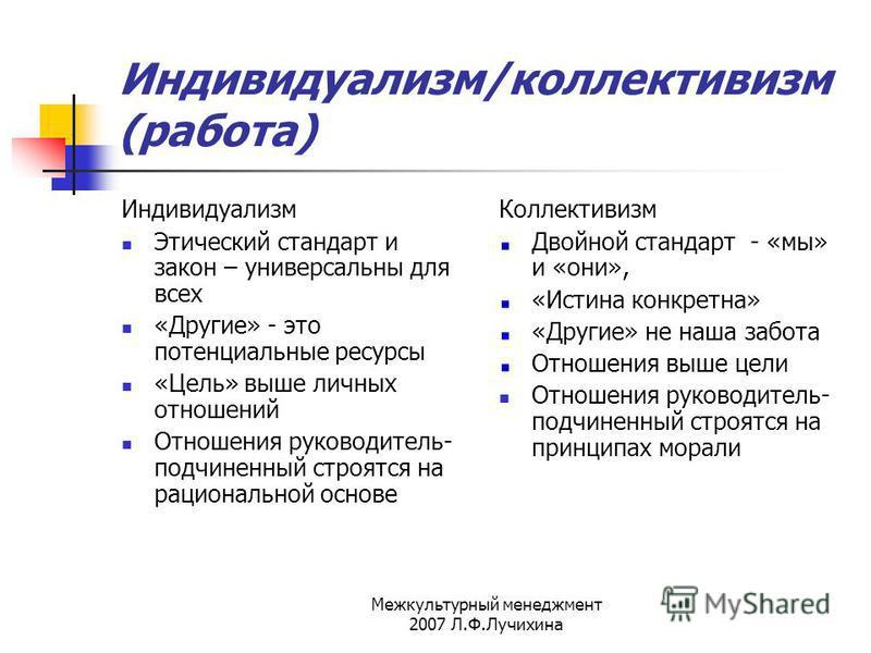 Межкультурный менеджмент 2007 Л.Ф.Лучихина Индивидуализм/коллективизм (работа) Индивидуализм Этический стандарт и закон – универсальны для всех «Другие» - это потенциальные ресурсы «Цель» выше личных отношений Отношения руководитель- подчиненный стро
