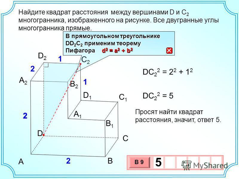 Найдите между вершинами D и C 2 многогранника, изображенного на рисунке. Все двугранные углы многогранника прямые. D А2А2 А1А1 В С А D2D2 С1С1 С2С2 D1D1 В1В1 2 2 2 1 1 В2В2 DC 2 2 = 2 2 + 1 2 DC 2 2 = 5 Просят найти квадрат расстояния, значит, ответ
