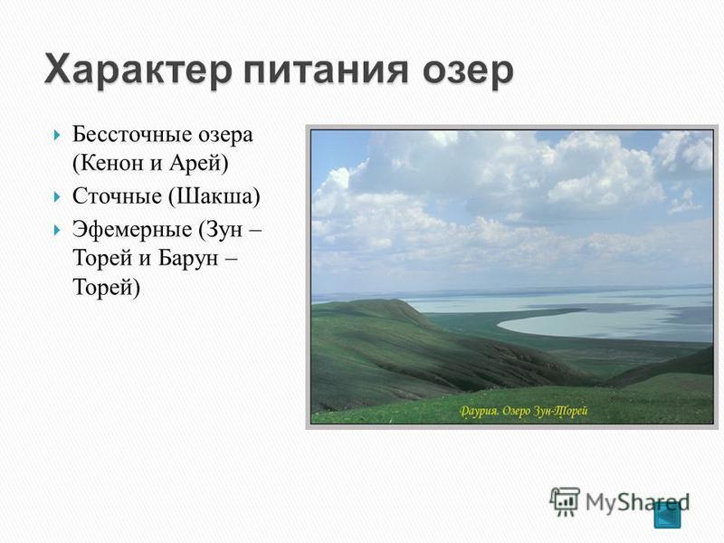 Бессточные озера (Кенон и Арей) Сточные (Шакша) Эфемерные (Зун – Торей и Барун – Торей)