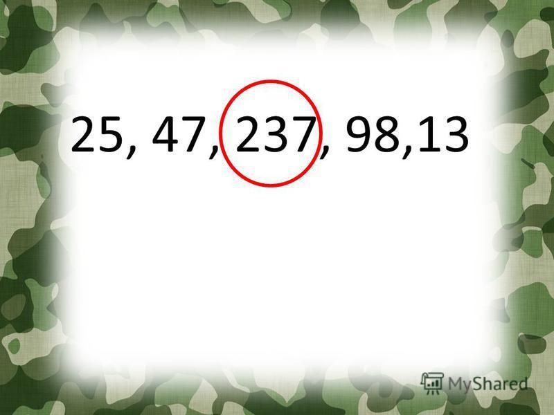 25, 47, 237, 98,13