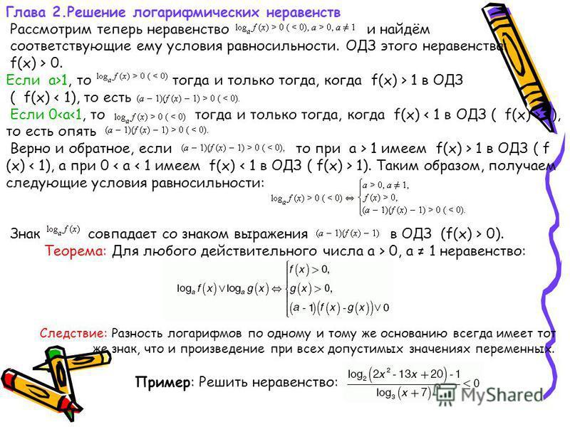 Глава 2. Решение логарифмических неравенств Рассмотрим теперь неравенство и найдём соответствующие ему условия равносильности. ОДЗ этого неравенства: f(x) > 0. Если a>1, то тогда и только тогда, когда f(x) > 1 в ОДЗ ( f(x) < 1), то есть Если 0 1), то