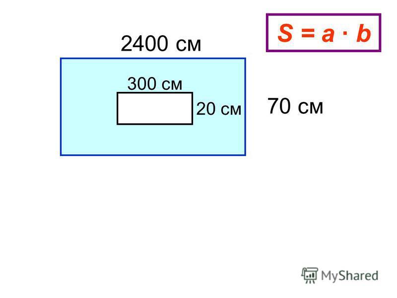 2400 см 70 см 300 см 20 см S = a b