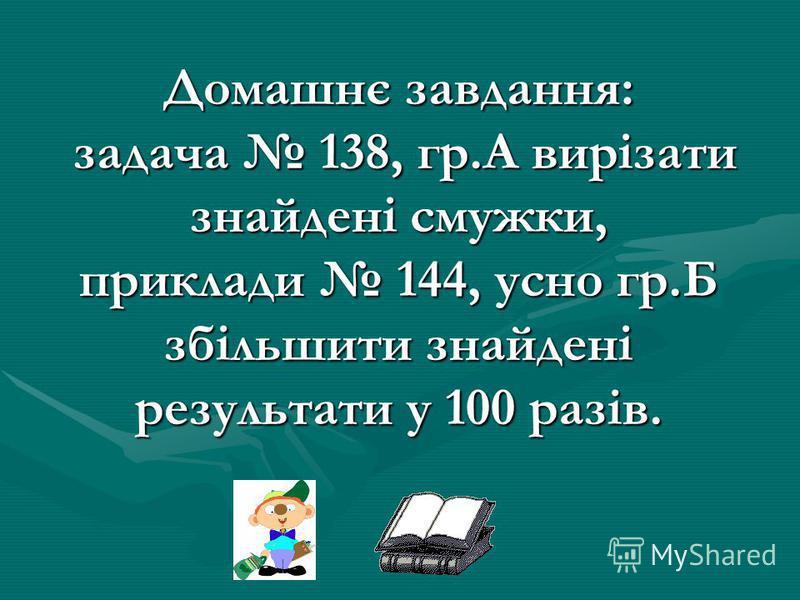 Домашнє завдання: задача 138, гр.А вирізати знайдені смужки, приклади 144, усно гр.Б збільшити знайдені результати у 100 разів.