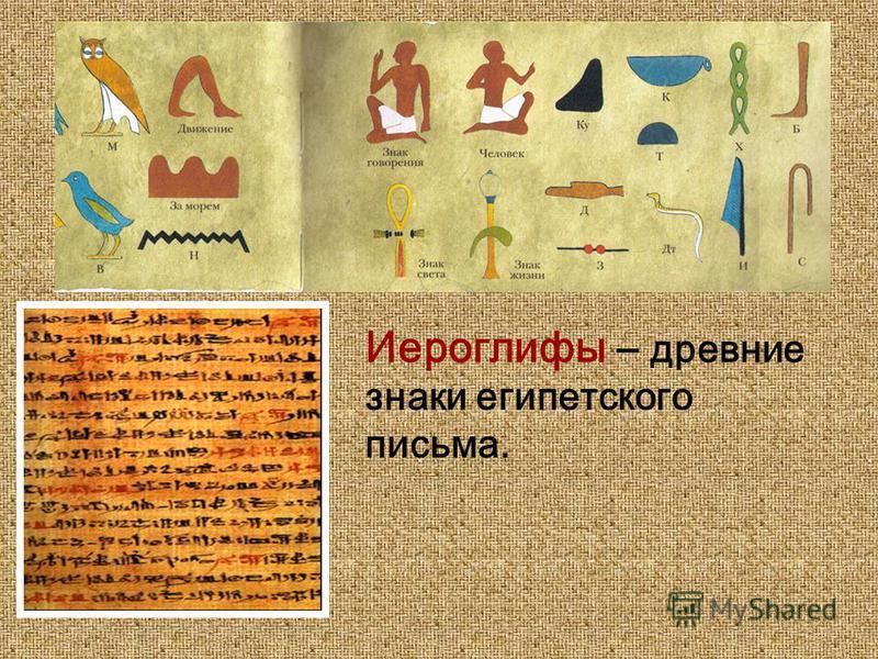 Иероглифы – древние знаки египетского письма.