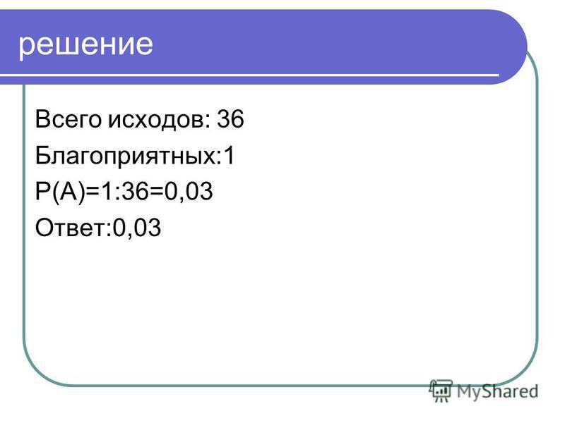 решение Всего исходов: 36 Благоприятных:1 P(А)=1:36=0,03 Ответ:0,03