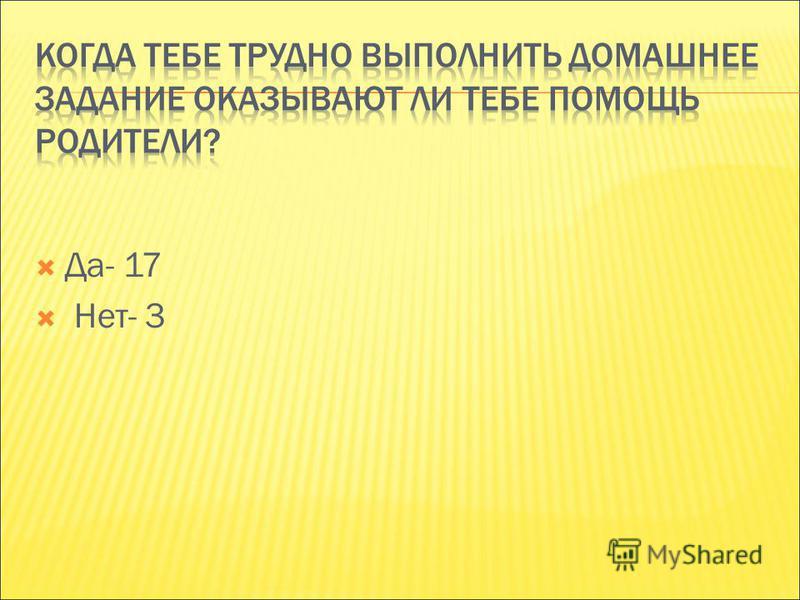 Да- 17 Нет- 3