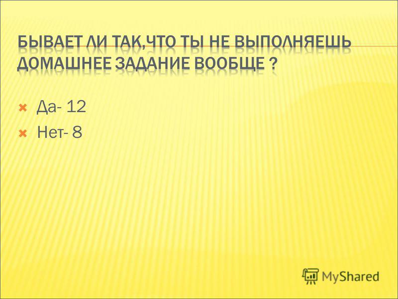 Да- 12 Нет- 8