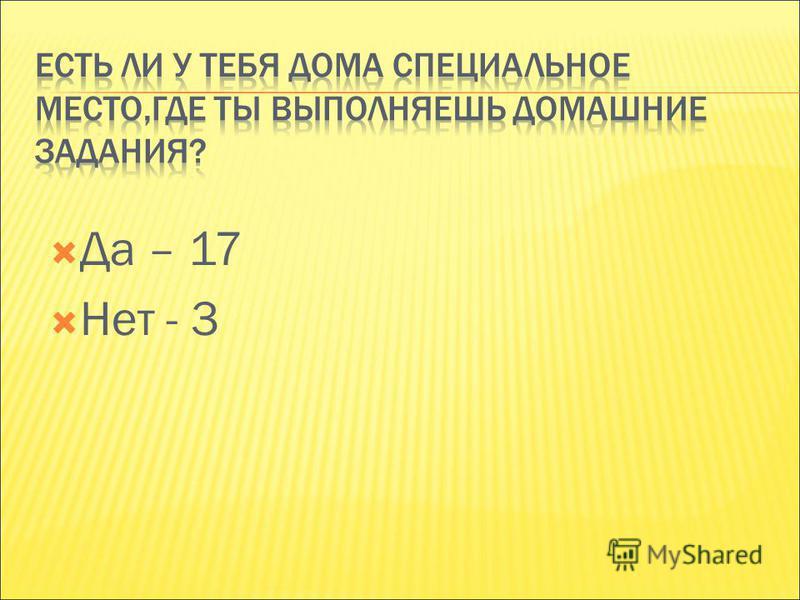 Да – 17 Нет - 3