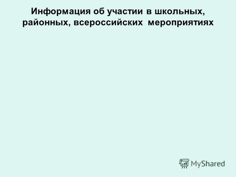 Информация об участии в школьных, районных, всероссийских мероприятиях