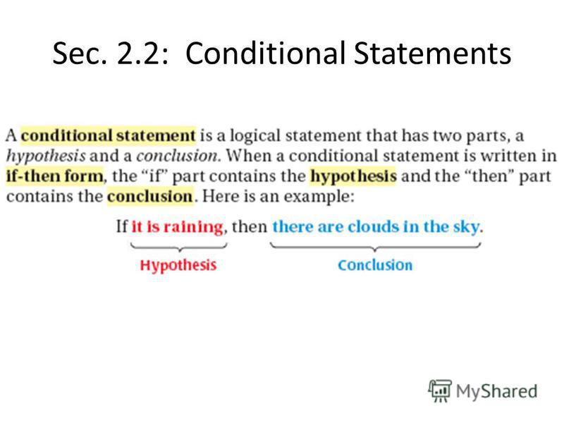 Sec. 2.2: Conditional Statements