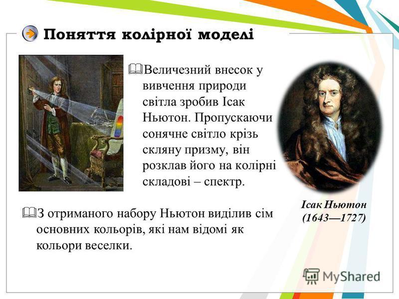 Поняття колірної моделі Величезний внесок у вивчення природи світла зробив Ісак Ньютон. Пропускаючи сонячне світло крізь скляну призму, він розклав його на колірні складові – спектр. Ісак Ньютон (16431727) З отриманого набору Ньютон виділив сім основ