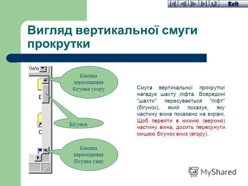 Exit Вигляд вертикальної смуги прокрутки Смуга вертикальної прокрутки нагадує шахту ліфта. Всередині