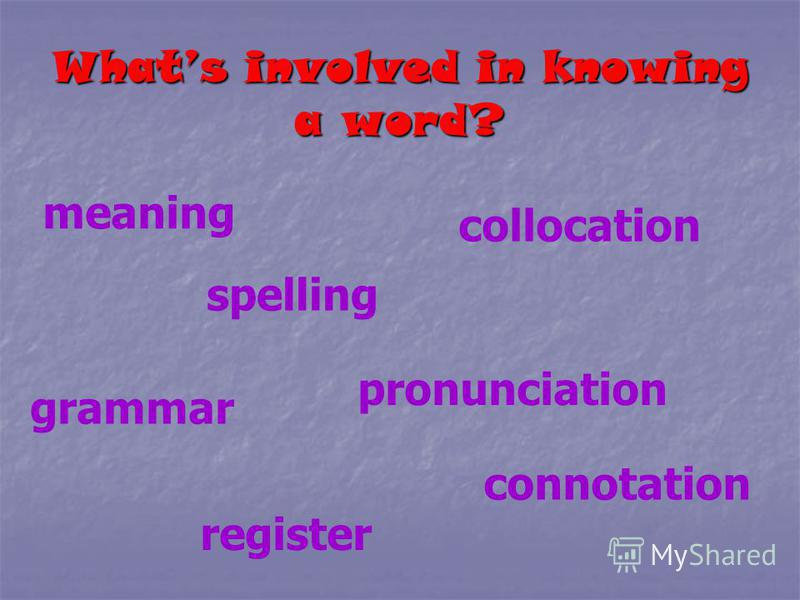 Whats involved in knowing a word? meaning spelling pronunciation grammar collocation connotation register