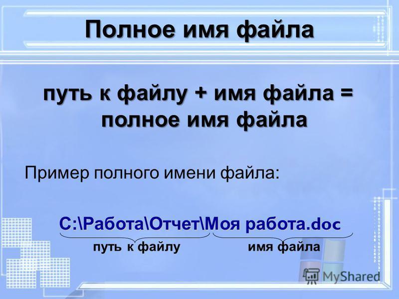 Полное имя файла путь к файлу + имя файла = полное имя файла Пример полного имени файла: С:\Работа\Отчет\Моя работа. doc С:\Работа\Отчет\Моя работа. doc путь к файлу имя файла