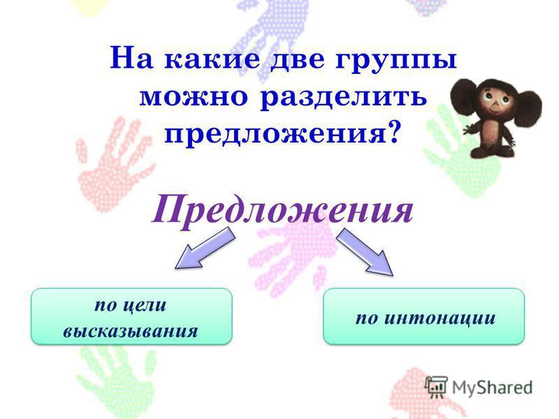 Предложения На какие две группы можно разделить предложения? по цели высказывания по интонации