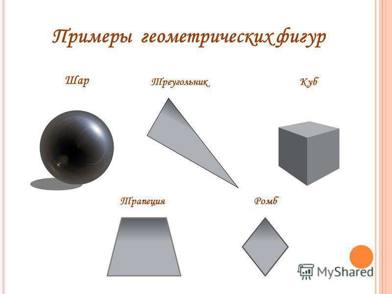 Примеры геометрических фигур Шар Треугольник Куб Трапеция Ромб