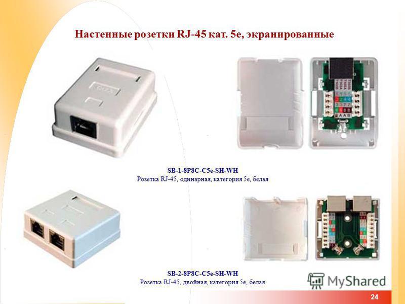 24 Настенные розетки RJ-45 кат. 5 е, экранированные SB-1-8P8C-C5e-SH-WH Розетка RJ-45, одинарная, категория 5e, белая SB-2-8P8C-C5e-SH-WH Розетка RJ-45, двойная, категория 5e, белая