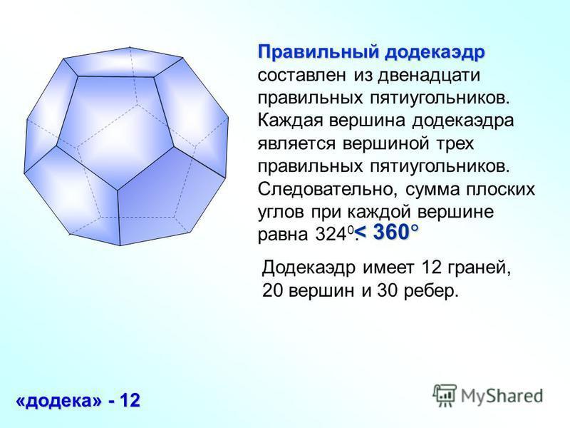 Правильный додекаэдр Правильный додекаэдр составлен из двенадцати правильных пятиугольников. Каждая вершина додекаэдра является вершиной трех правильных пятиугольников. Следовательно, сумма плоских углов при каждой вершине равна 324 0. «додека» - 12