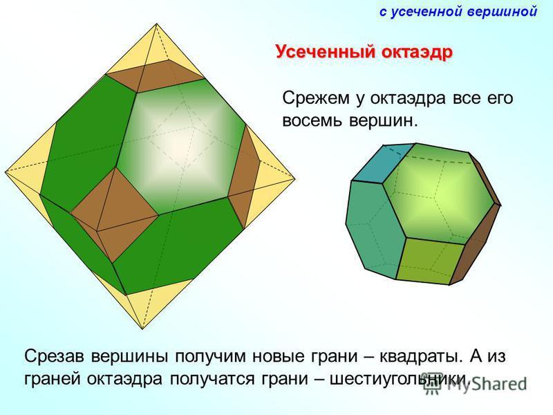 Усеченный октаэдр Срежем у октаэдра все его восемь вершин. Срезав вершины получим новые грани – квадраты. А из граней октаэдра получатся грани – шестиугольники. с усеченной вершиной