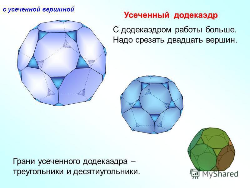 Усеченный додекаэдр С додекаэдром работы больше. Надо срезать двадцать вершин. Грани усеченного додекаэдра – треугольники и десятиугольники. с усеченной вершиной