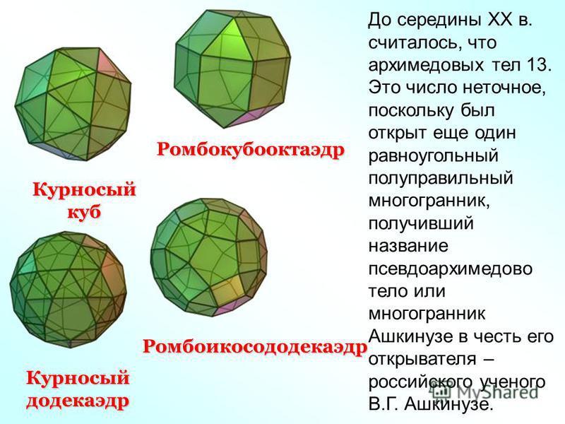Курносый куб Курносыйдодекаэдр Ромбоикосододекаэдр Ромбокубооктаэдр До середины XX в. считалось, что архимедовых тел 13. Это число неточное, поскольку был открыт еще один равноугольный полуправильный многогранник, получивший название псевдо архимедов