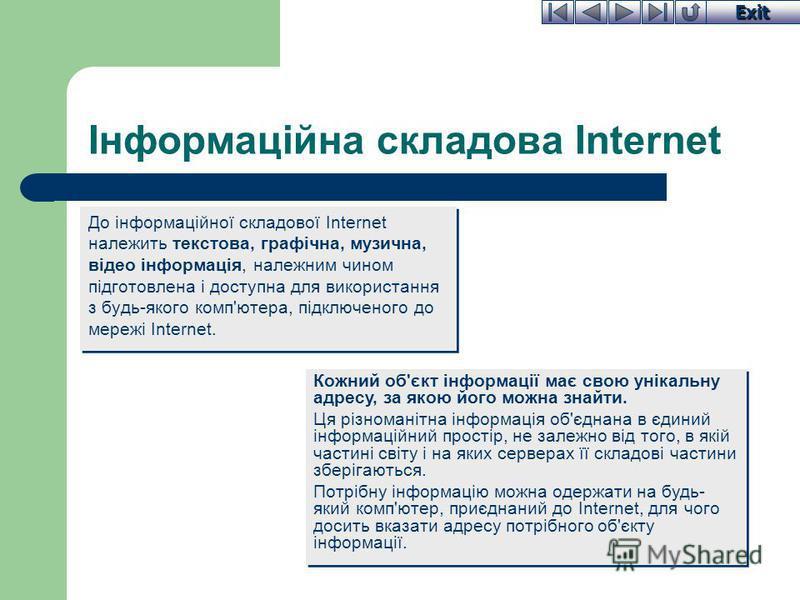 Exit Інформаційна складова Internet До інформаційної складової Internet належить текстова, графічна, музична, відео інформація, належним чином підготовлена і доступна для використання з будь-якого комп'ютера, підключеного до мережі Internet. Кожний о
