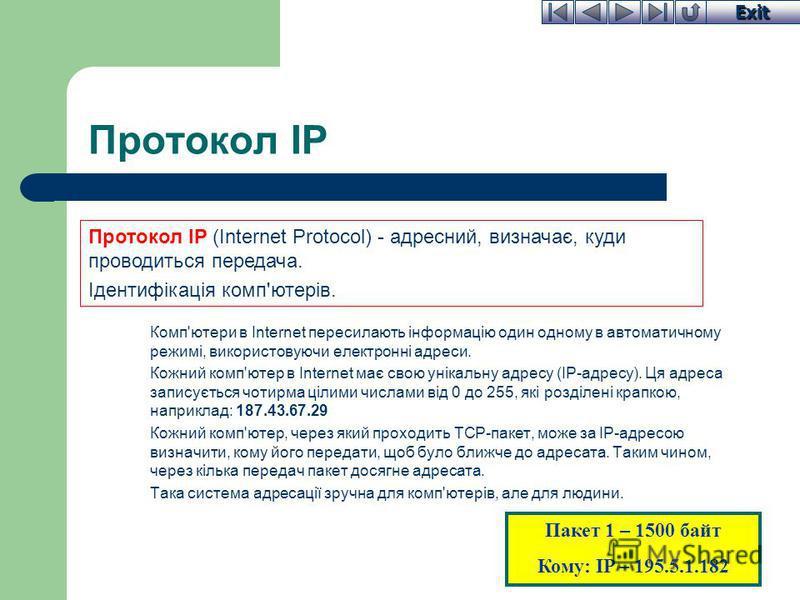 Exit Протокол IP Комп'ютери в Internet пересилають інформацію один одному в автоматичному режимі, використовуючи електронні адреси. Кожний комп'ютер в Internet має свою унікальну адресу (ІР-адресу). Ця адреса записується чотирма цілими числами від 0