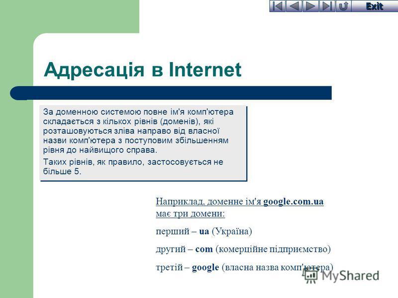 Exit Адресація в Internet За доменною системою повне ім'я комп'ютера складається з кількох рівнів (доменів), які розташовуються зліва направо від власної назви комп'ютера з поступовим збільшенням рівня до найвищого справа. Таких рівнів, як правило, з