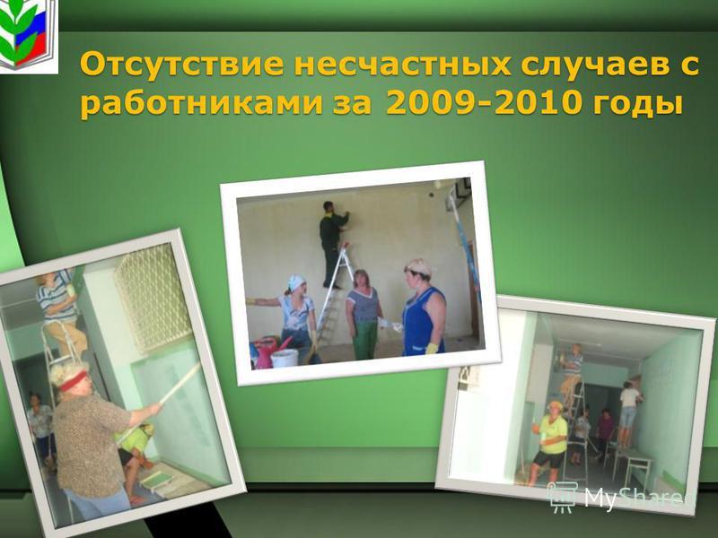 Отсутствие несчастных случаев с работниками за 2009-2010 годы