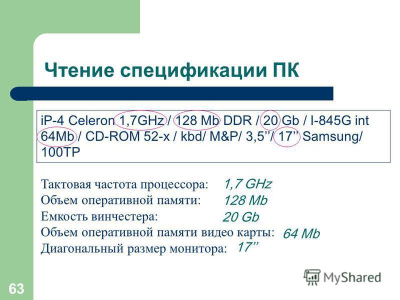 62 Чтение спецификации ПК Intel Pentium 4 - 3.0GHz / 512Mb / 120Gb / 128Mb GeForce PCX 6600 / Combo: DVD16x + CD-RW52x32 х 52 х / FDD / LAN / AC97 / kbd / M&P / 17