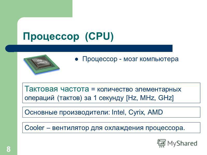 7 Материнская плата (Motherboard) Это сердце компьютера, самое большое и сложное устройство. Именно к