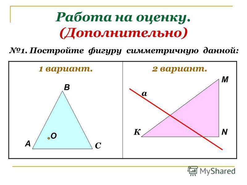 Работа на оценку. (Дополнительно) 1 вариант.2 вариант. 1. Постройте фигуру симметричную данной: А В С К М N O a