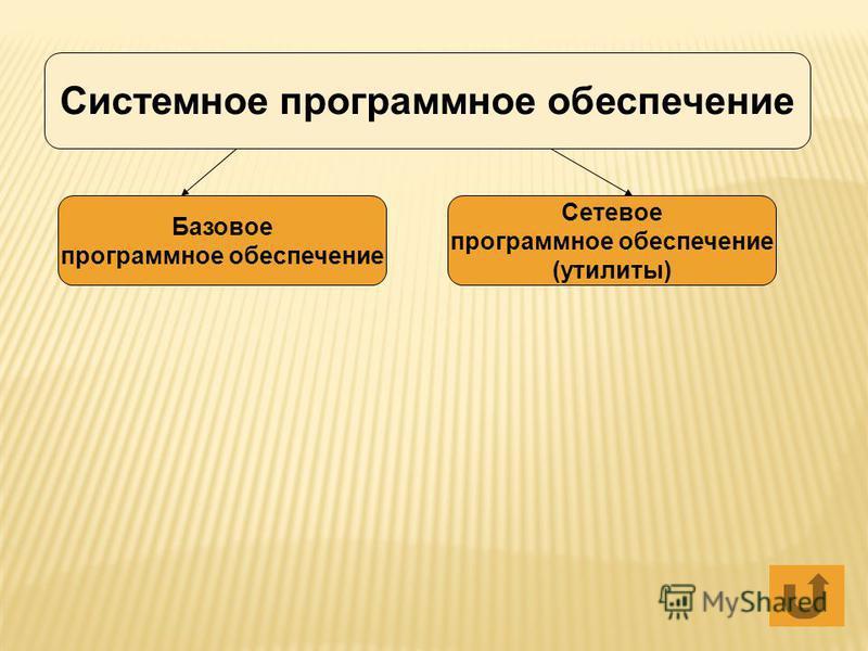 Системное программное обеспечение Базовое программное обеспечение Сетевое программное обеспечение (утилиты)