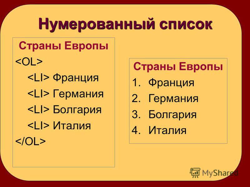 Нумерованный список Страны Европы Франция Германия Болгария Италия Страны Европы 1. Франция 2. Германия 3. Болгария 4.Италия