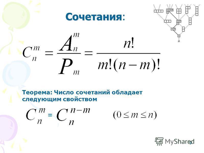 9 Сочетания Сочетания: = Теорема: Число сочетаний обладает следующим свойством