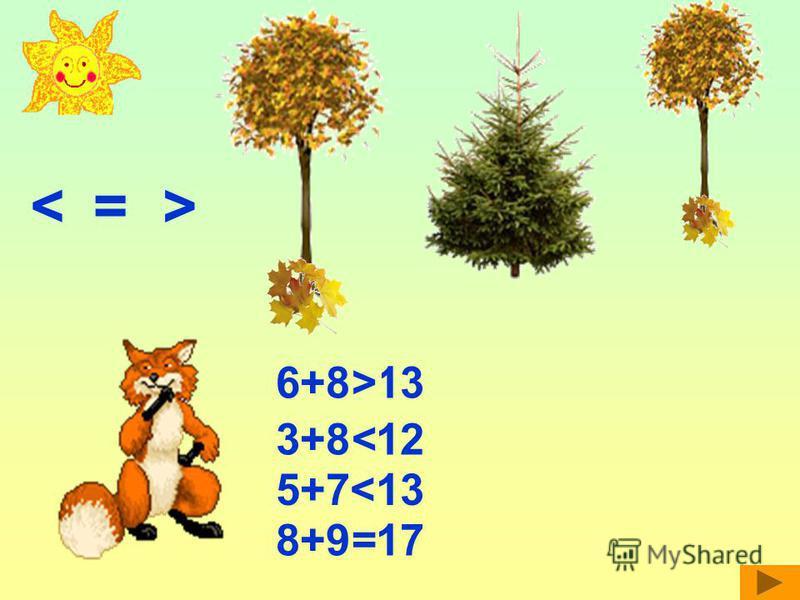<= > 6+8<13> 3+8>12< 5+7<13