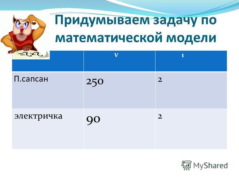 Придумываем задачу по математической модели V t П.сапсан 250 2 электричка 90 2